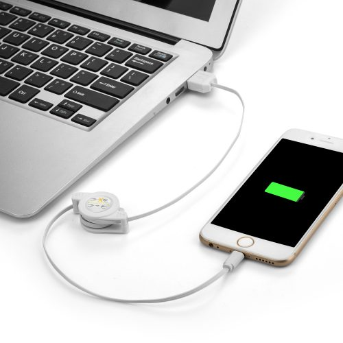 ausziehbares Ladekabel iOS9 weiss 2